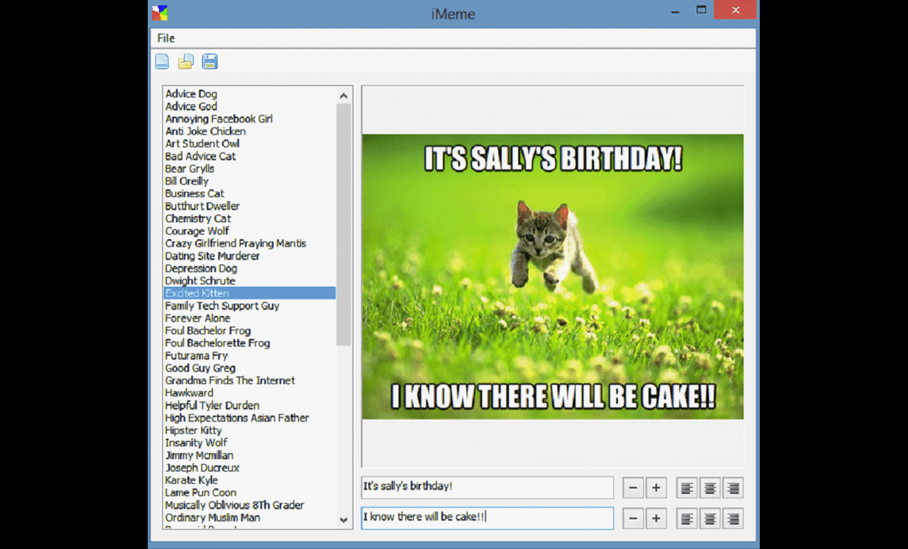 Using iMeme to create a birthday meme with Excited Kitten character - screenshot