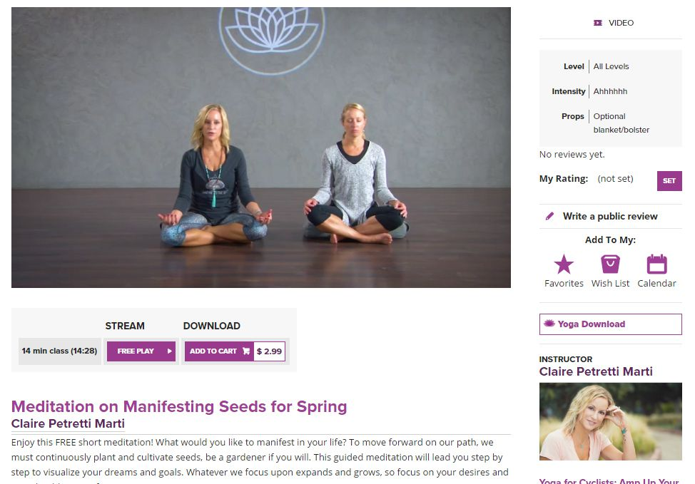 Two women meditating in a free yoga video