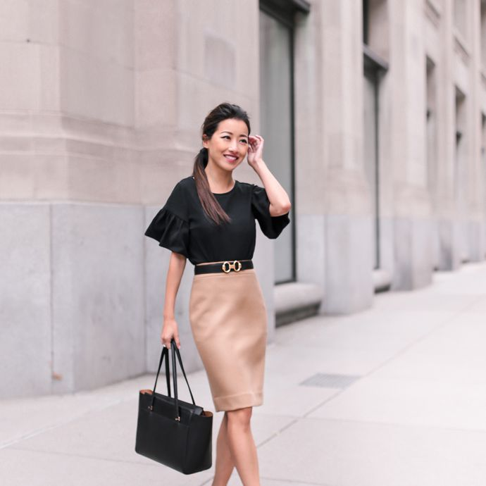 Chic office outfit with pencil skirt and leopard print shoes