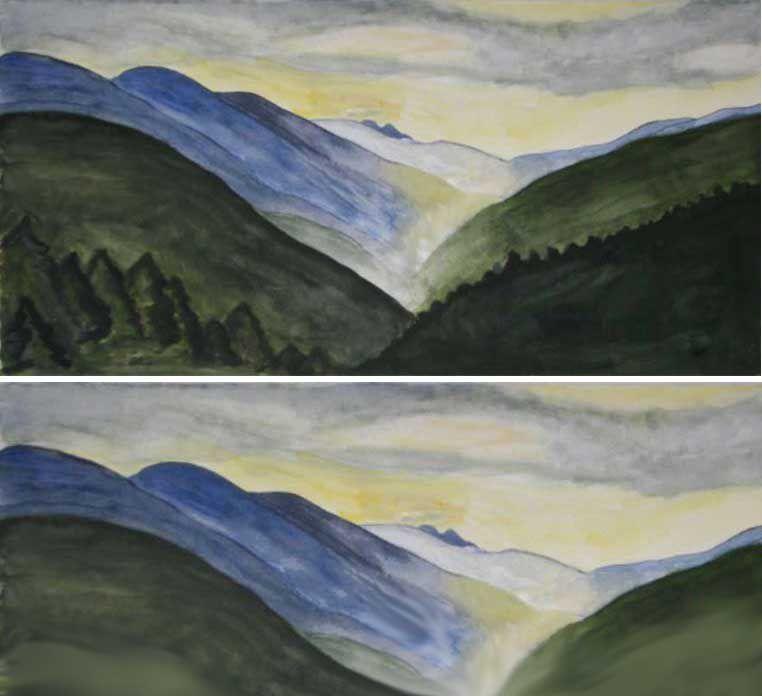 Landscape painting composition