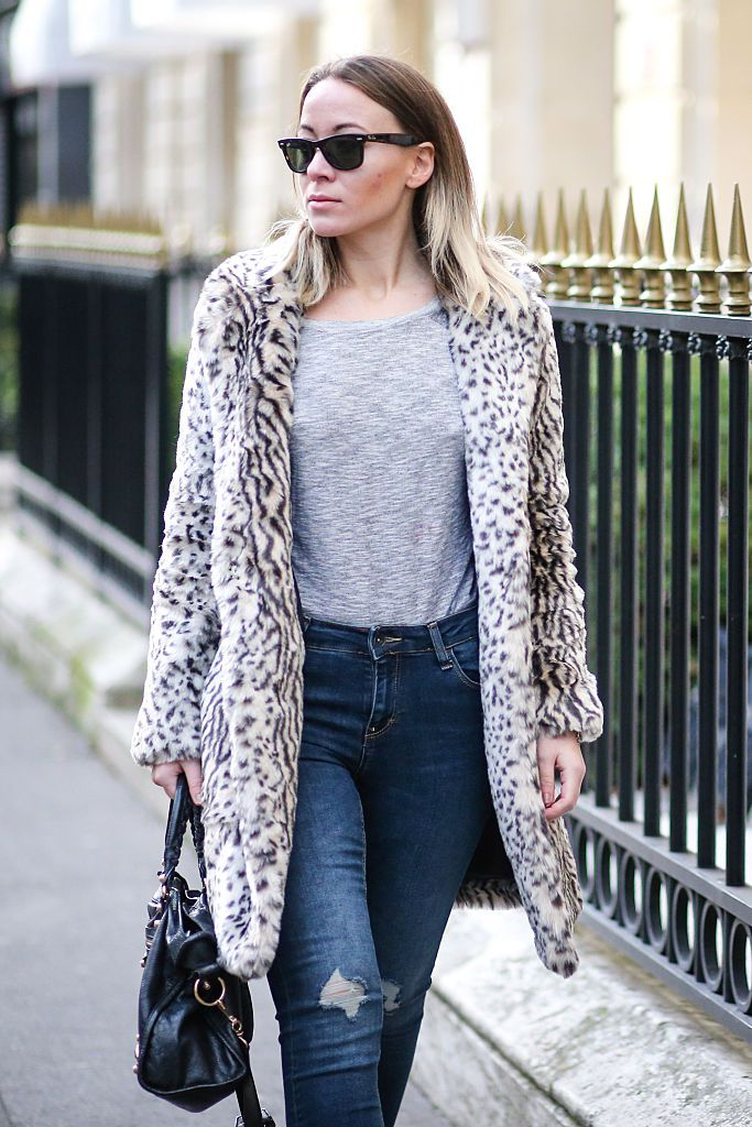 Black and white leopard print coat and jeans outfit for winter fashion 2c13fb90dddf