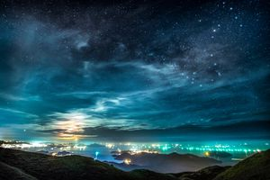 Scorpius and the Moon Over Hong Kong Cityscape