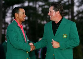 Tiger Woods and Phil Mickelson in Green Jackets after the 2006 Masters