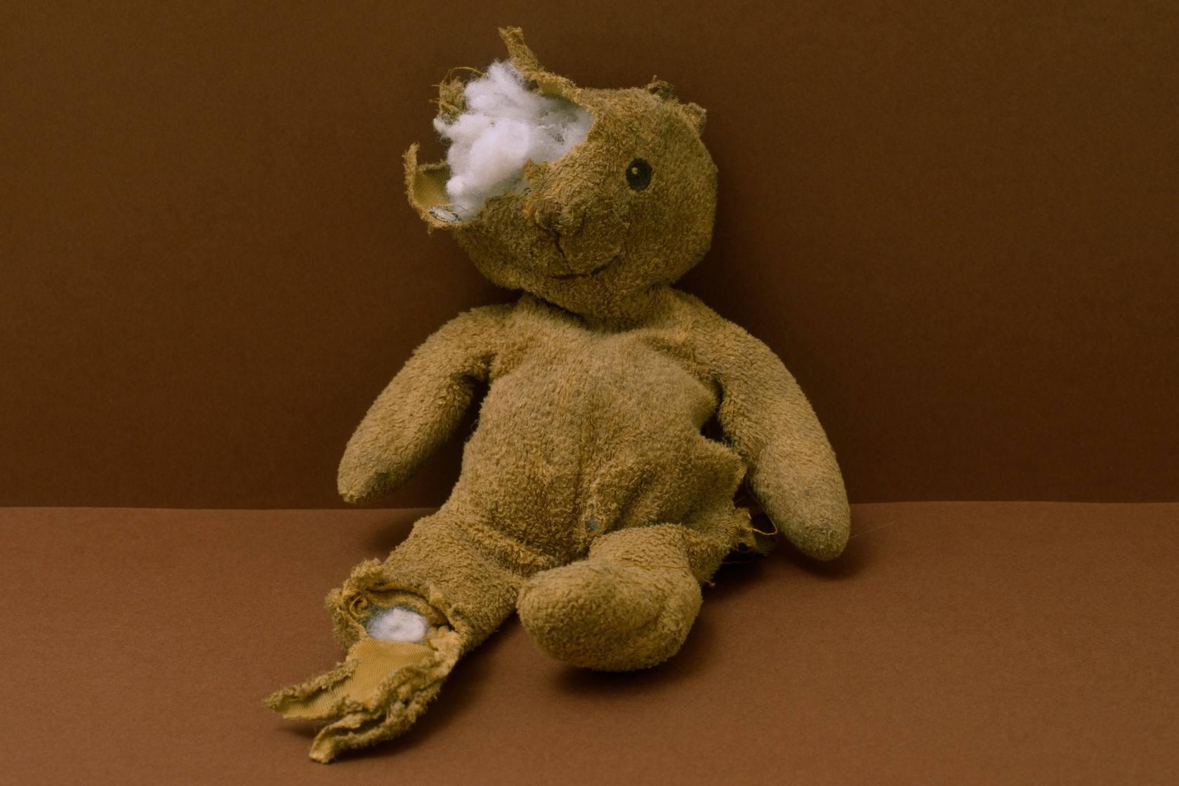 Torn up stuffed animal