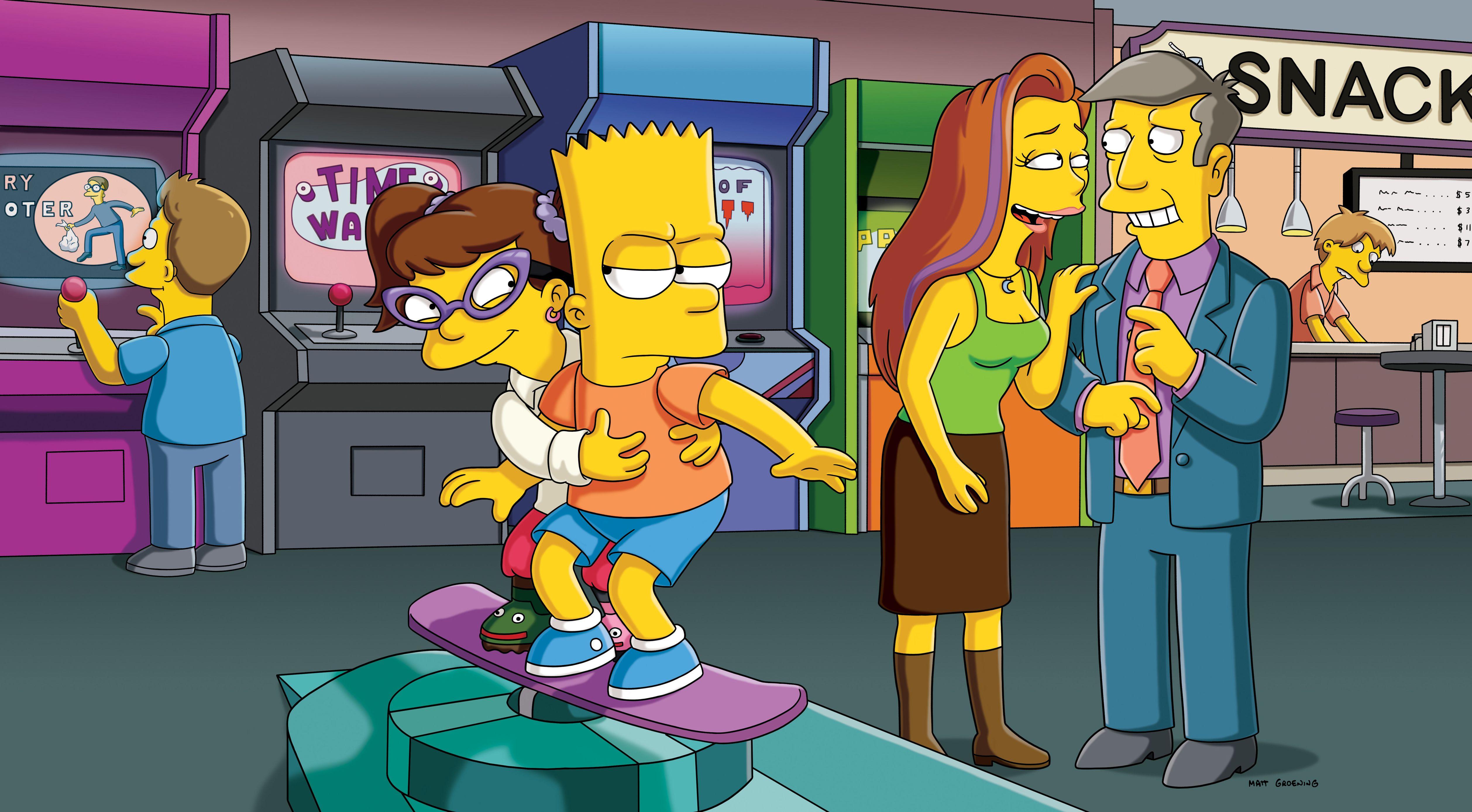 Melody, Bart, Ms. Juniper and Principal Skinner