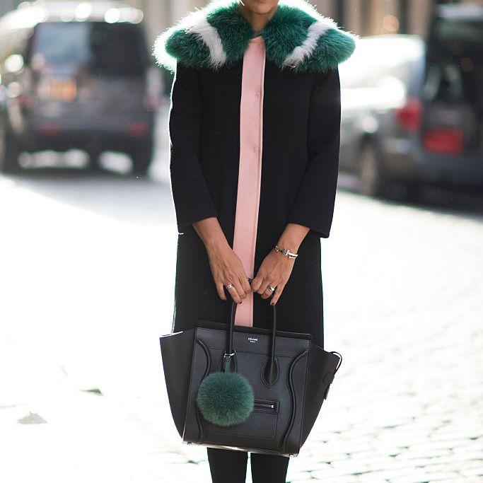 Street style in fur trimmed winter coat