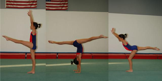 Gymnast doing a a back walkover without a spotter