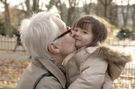 French grandmother and little girl