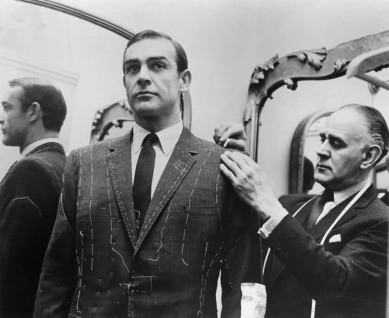 Tailor Anthony Sinclair fitting Scottish actor Sean Connery for one of the suits he will wear in the film 'From Russia With Love', Mayfair, London, 1963.