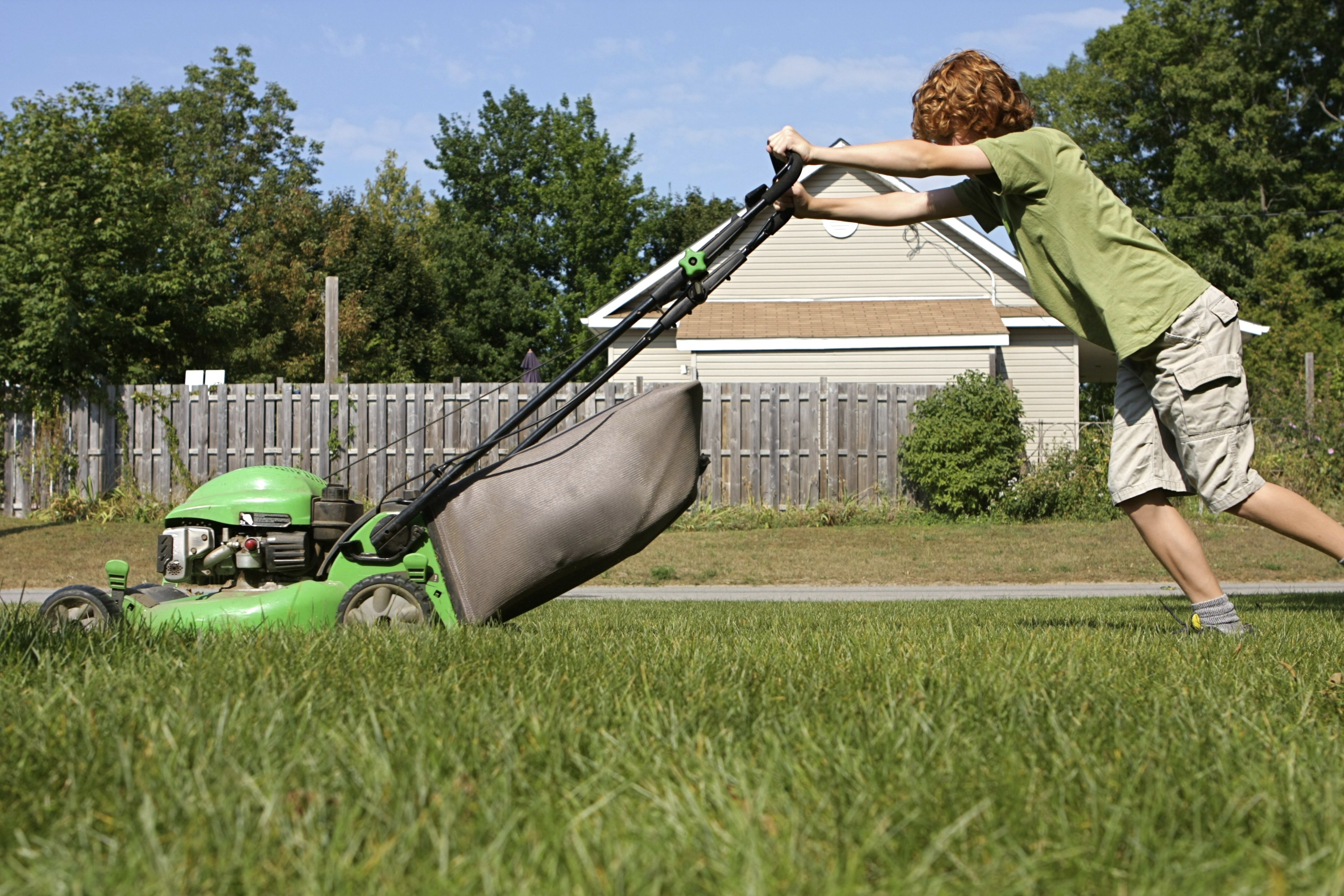 Boy and Lawn Mower