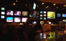 TV screens inside the Sports Bar, Caesars Palace Casino