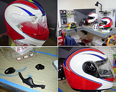 Four images depicting painted helmets.