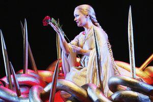 Singer Emma Matthews (Almirena) performs during a dress rehearsal of Handel's 'Rinaldo' at the Opera House on July 19, 2005 in Sydney, Australia.