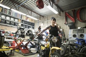 Custom Motorcycle and Mechanic