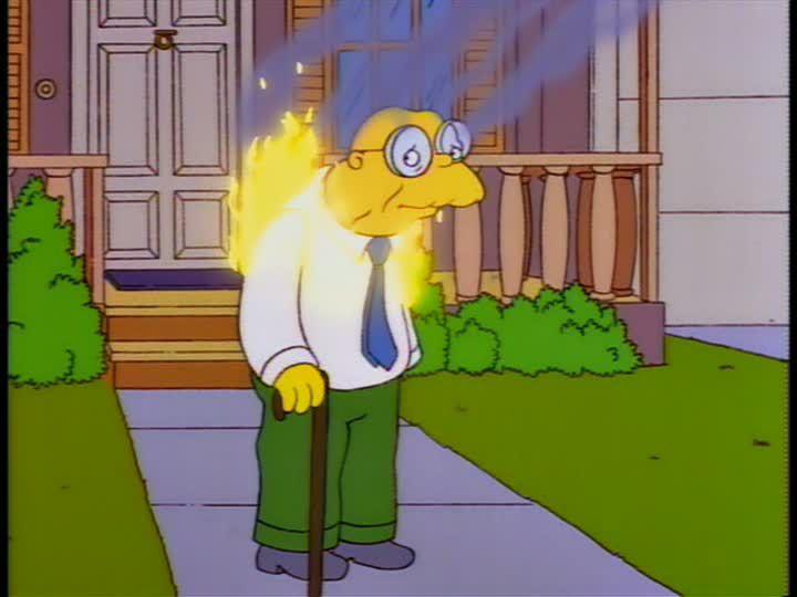 Hans Moleman Catches on Fire