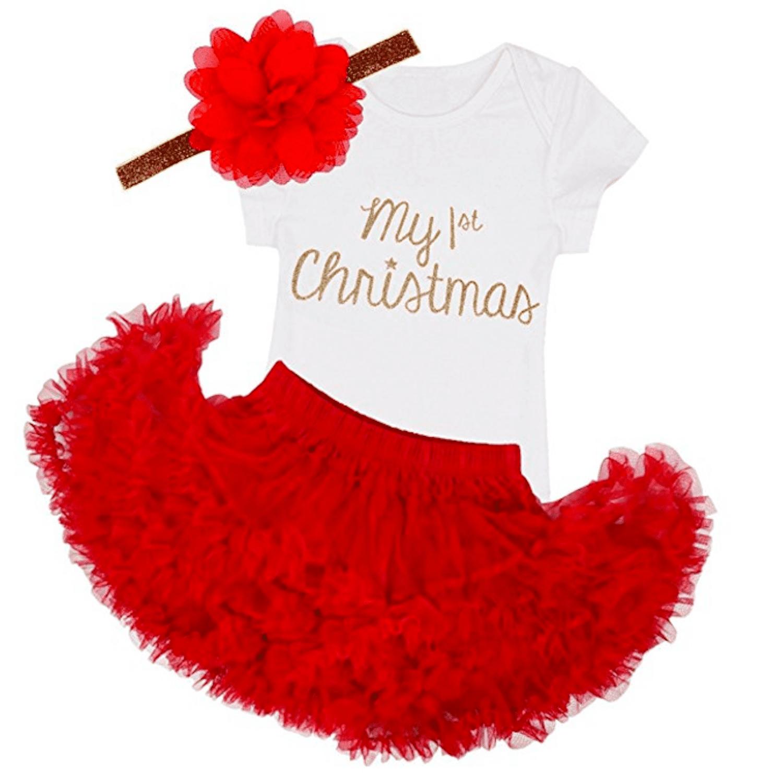 bdf5d090e5880 TiaoBug Baby Girls My First Christmas Romper with Tutu Skirt Headband Outfit.  Amazon.com