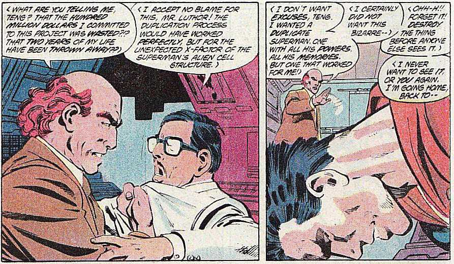 In two panels from Man of Steel #5, Luthor shows off his ability to speak multiple languages