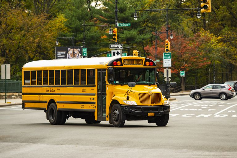 A school bus on the streets of the Bronx, New York city