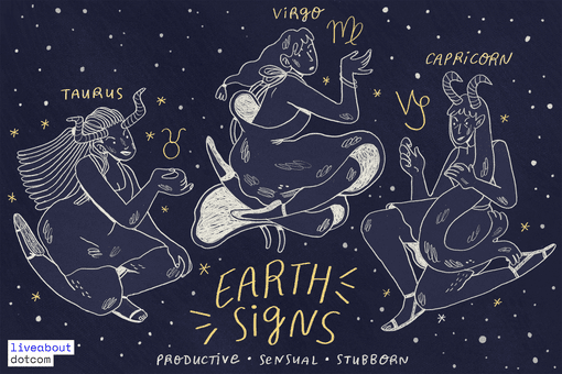 Illustration of the three earth signs