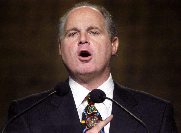Rush Limbaugh Speaks at the National Association of Broadcasters in Philadelphia Amidst Controversy