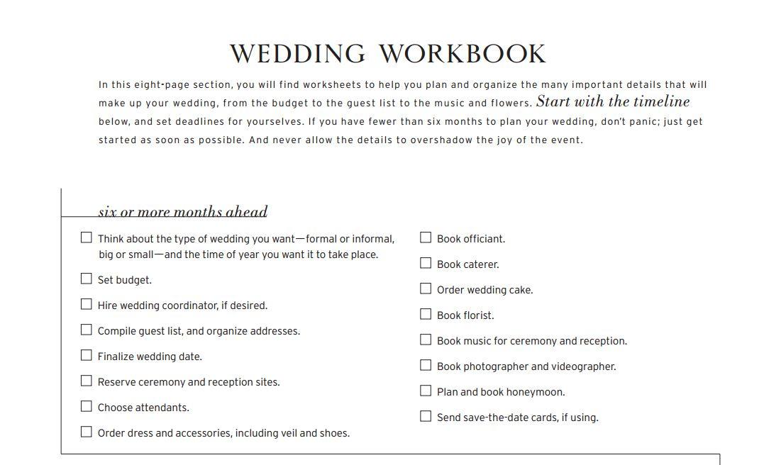 A wedding workbook checklist