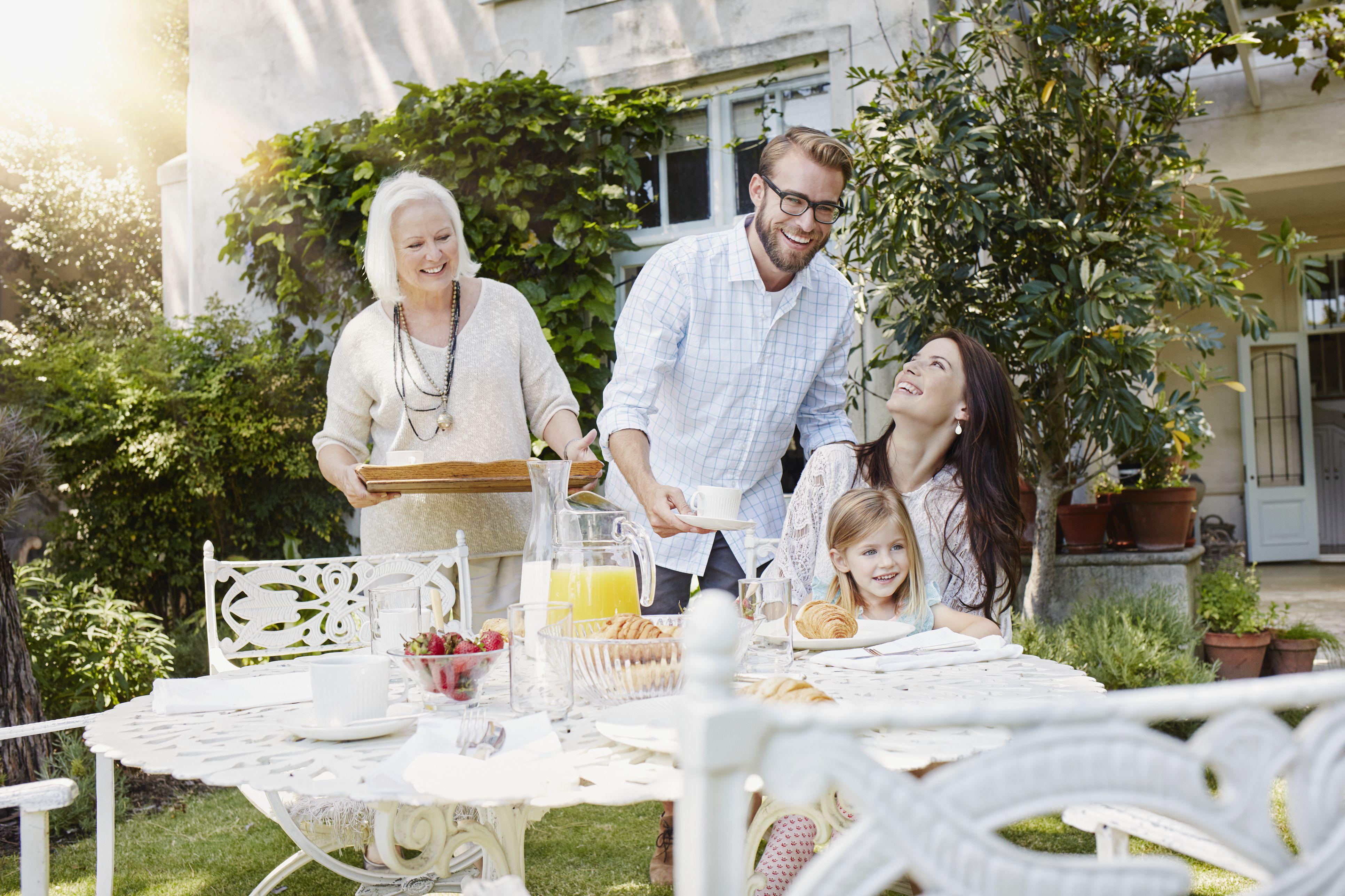 Family having breakfast in the garden