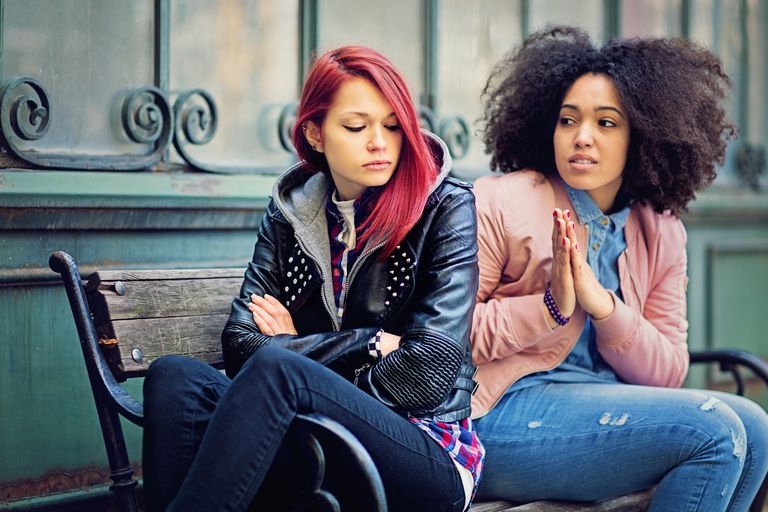 Girlfriends in conflict are sulking each other