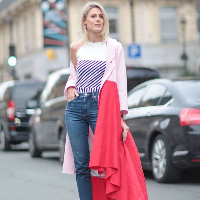 Street style fashion photo jeans and coat