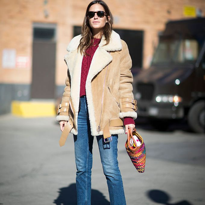 Street style shearling coat and jeans