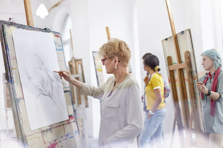 Women drawing in an artists studio