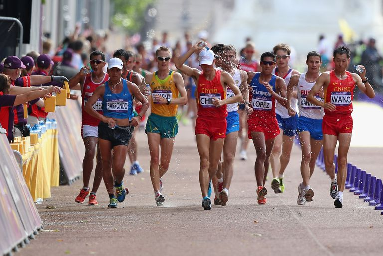 Competitors in the 20 Kilometer Race Walk at the 2012 London Olympic Games