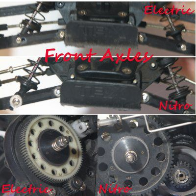 Front axles and gears of two RC vehicles