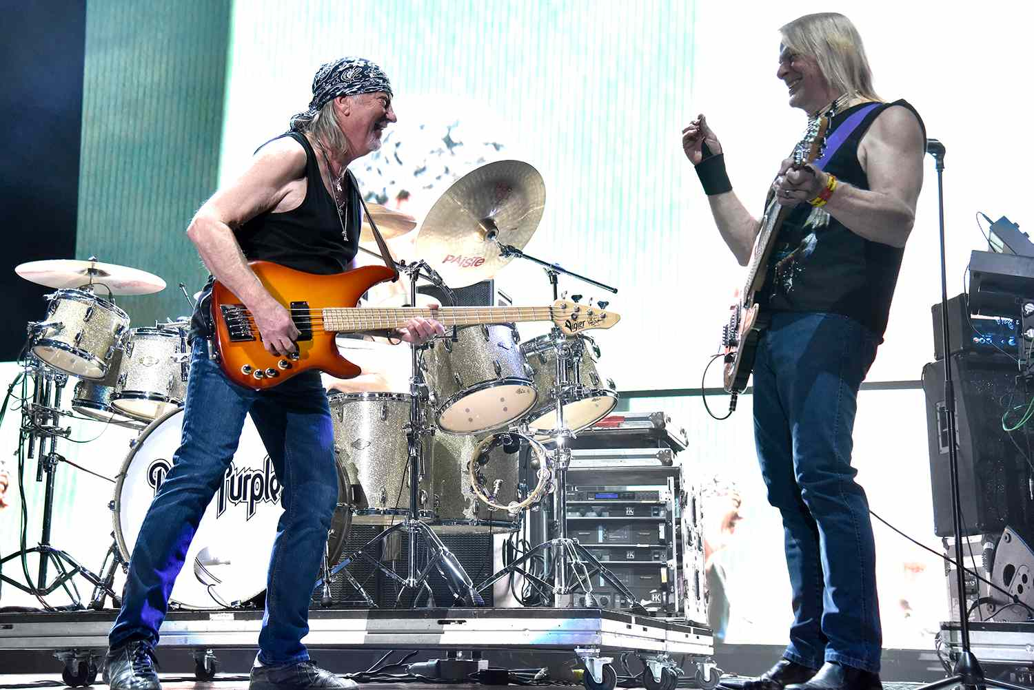 Roger Glover (L) and Steve Morse of Deep Purple perform in support of the band's