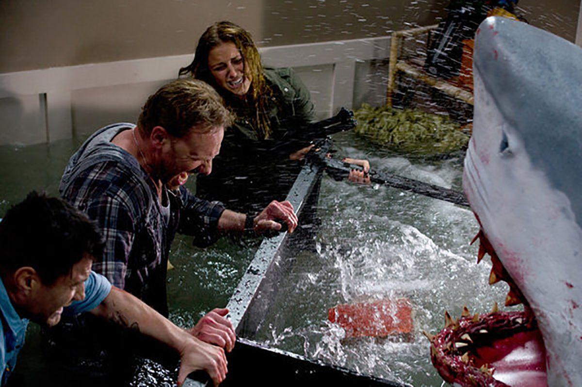 Ian Ziering, Jason Simmons, and Cassandra Scerbo in Sharknado (2013)