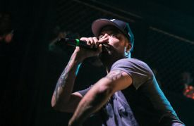 Aesop Rock performing live rapping