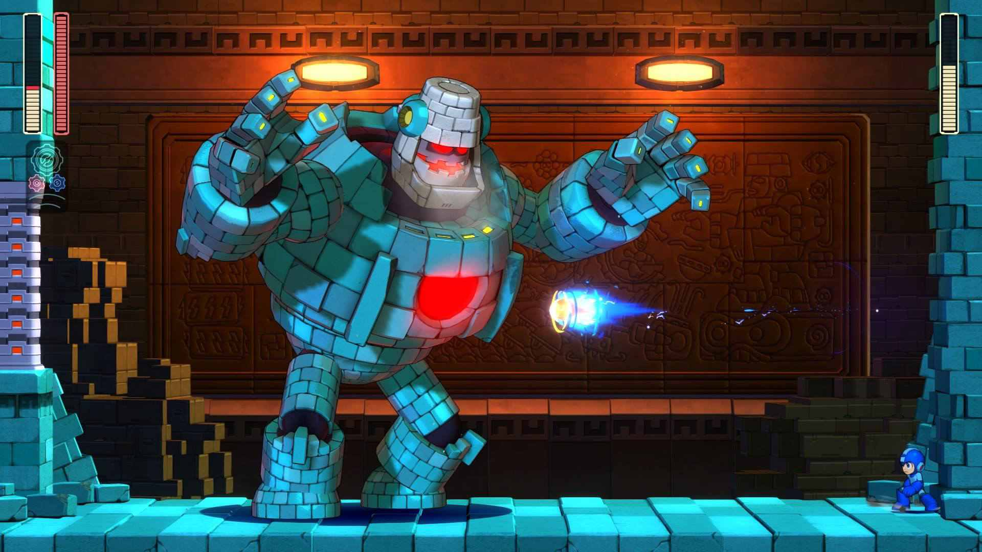 Mega Man attacks Block Man in Mega Man 11