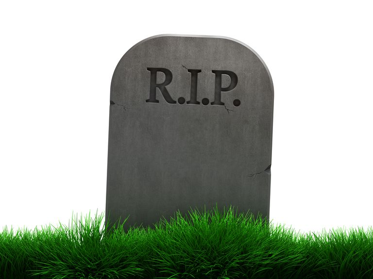 A gravestone that says R.I.P.
