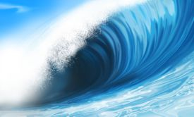 Illustration painting of wave breaking
