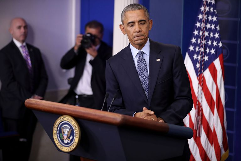 President Barack Obama at a White House press conference