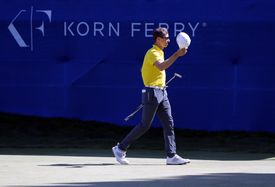 Brandon Hagy walks off the 18th green during the final round of the Korn Ferry Tour Albertson's Boise Open at Hillcrest Country Club on August 25, 2019 in Boise, Idaho.