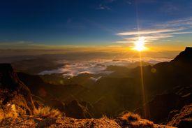 sunset among mountains