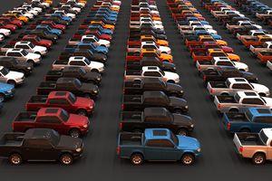 3D illustration of new pick-up trucks