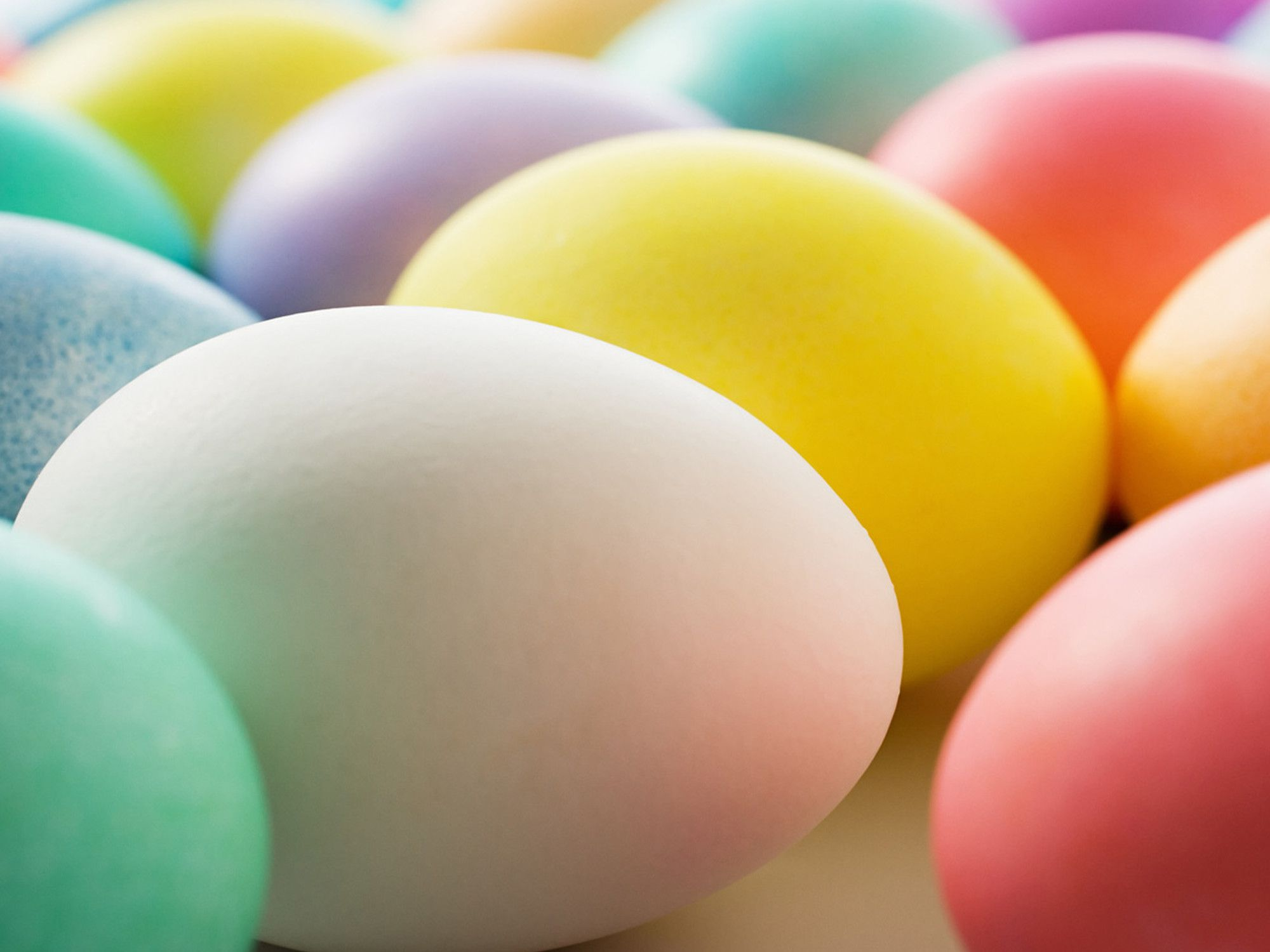 close up of different colored Easter eggs