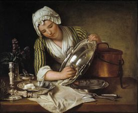 Painting of domestic servant polishing the silver