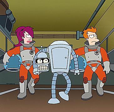 Leela, Bender and Fry on Futurama
