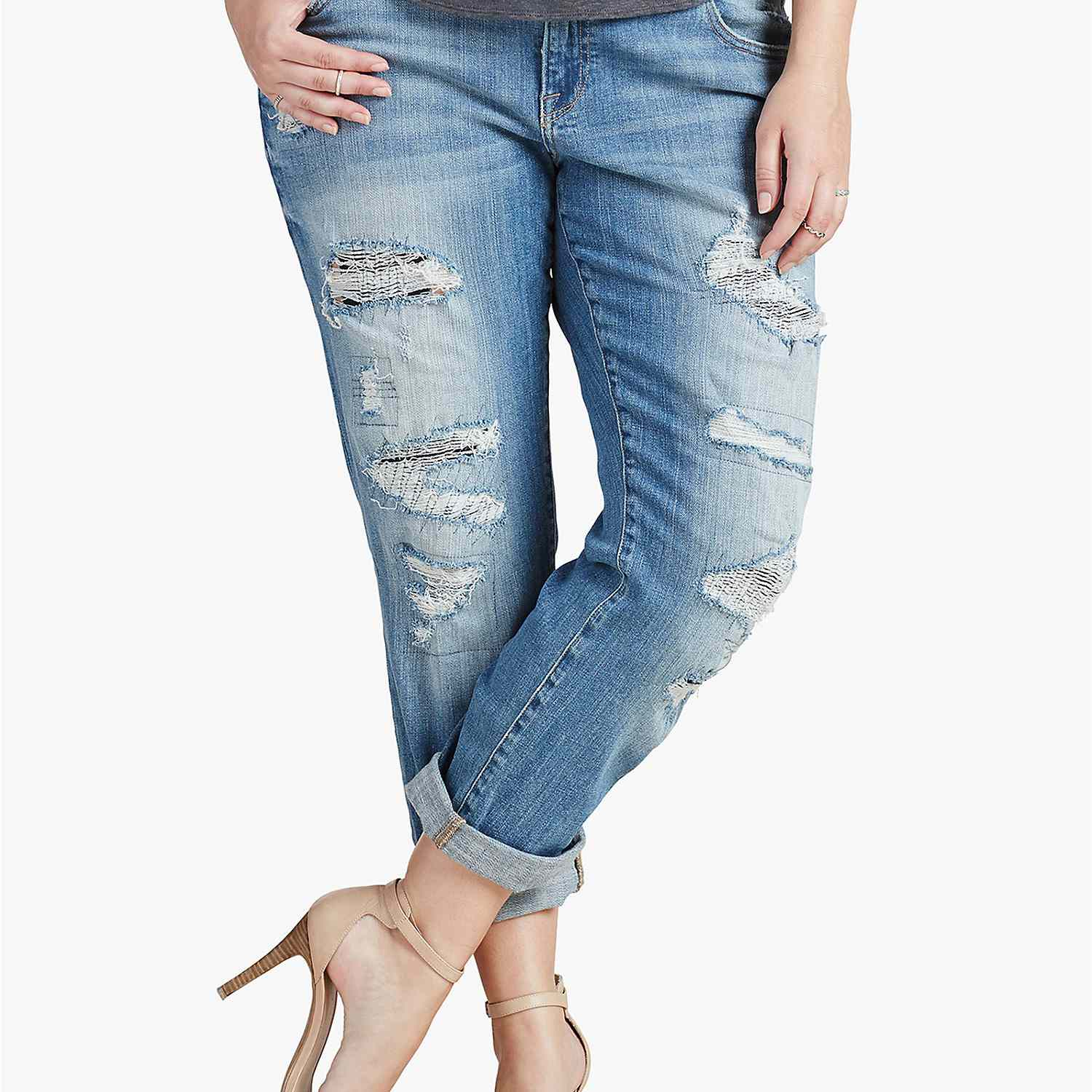 How should boyfriend jeans fit in the back