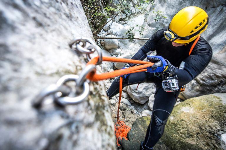Close up of a man rock climbing