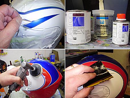 Four images depicting helmet maintenance.