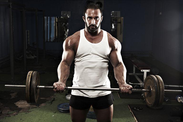 A bodybuilder in a gym.
