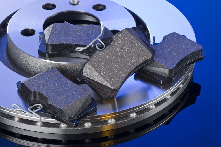 Brake pads and brake rotor close up